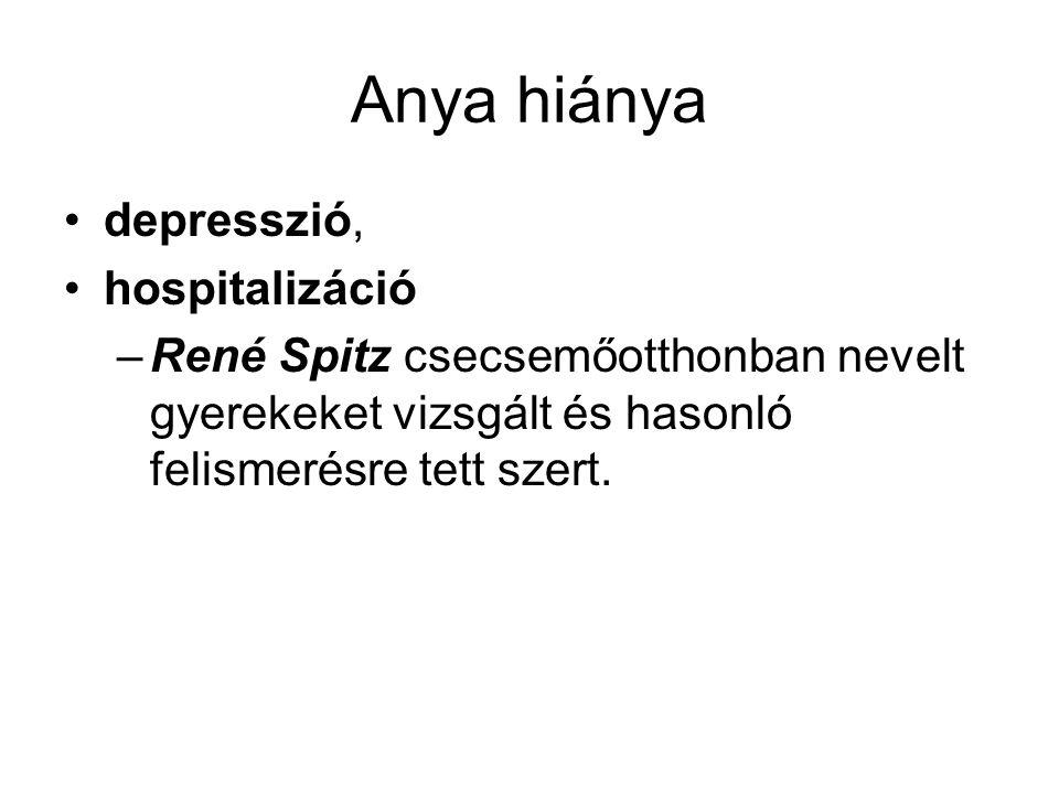 Anya hiánya depresszió, hospitalizáció –René Spitz csecsemőotthonban nevelt gyerekeket vizsgált és hasonló felismerésre tett szert.