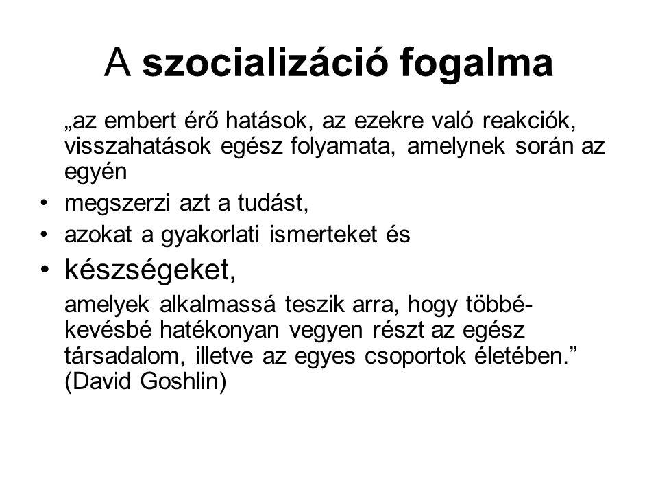 1.A szocializáció fogalma  a szocializáció fogalma: XIX.