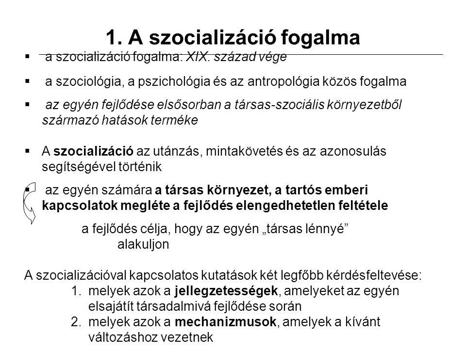 1. A szocializáció fogalma  a szocializáció fogalma: XIX.