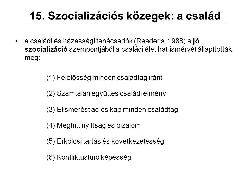 15. Szocializációs közegek: a család a családi és házassági tanácsadók (Reader's, 1988) a jó szocializáció szempontjából a családi élet hat ismérvét á