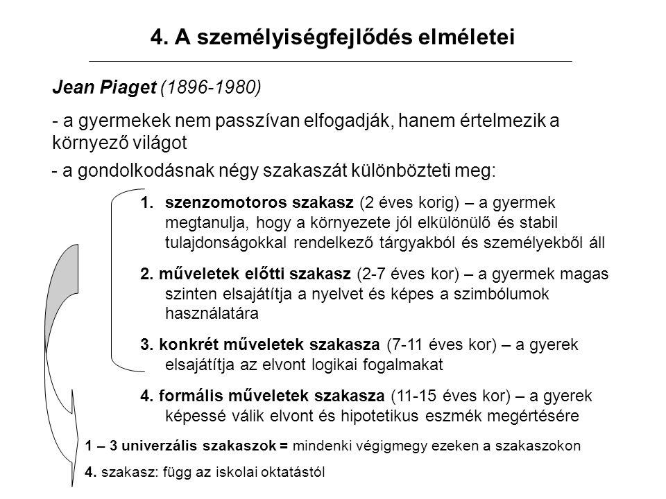 4. A személyiségfejlődés elméletei Jean Piaget (1896-1980) - a gyermekek nem passzívan elfogadják, hanem értelmezik a környező világot - a gondolkodás