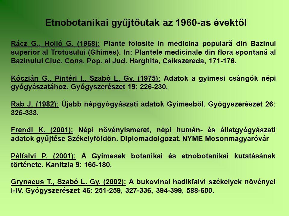 Rácz G., Holló G. (1968): Plante folosite in medicina populară din Bazinul superior al Trotusului (Ghimes). In: Plantele medicinale din flora spontană