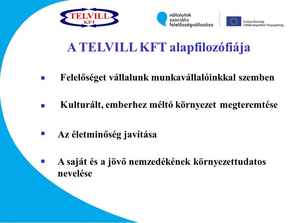 A TELVILL KFT alapfilozófiája         Felelőséget vállalunk munkavállalóinkkal szemben Kulturált, emberhez méltó környezet megteremtése Az életminőség javítása A saját és a jövő nemzedékének környezettudatos nevelése