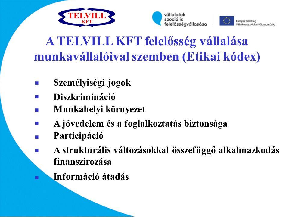 A TELVILL KFT felelősség vállalása munkavállalóival szemben (Etikai kódex)               Személyiségi jogok Diszkrimináció A strukturális változásokkal összefüggő alkalmazkodás finanszírozása Információ átadás Munkahelyi környezet A jövedelem és a foglalkoztatás biztonsága Participáció