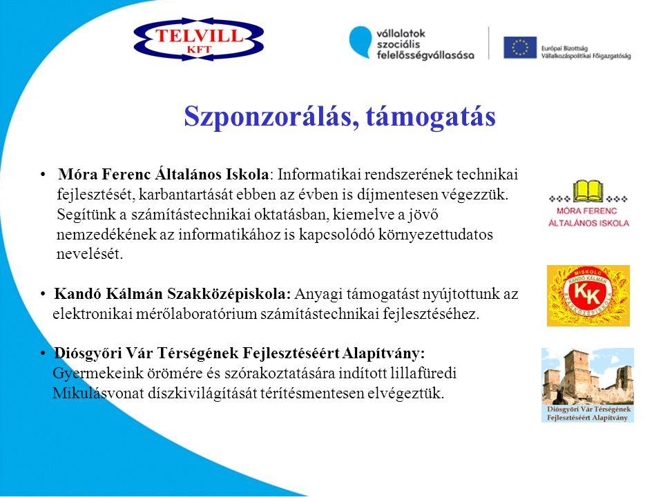 Szponzorálás, támogatás Móra Ferenc Általános Iskola: Informatikai rendszerének technikai fejlesztését, karbantartását ebben az évben is díjmentesen végezzük.