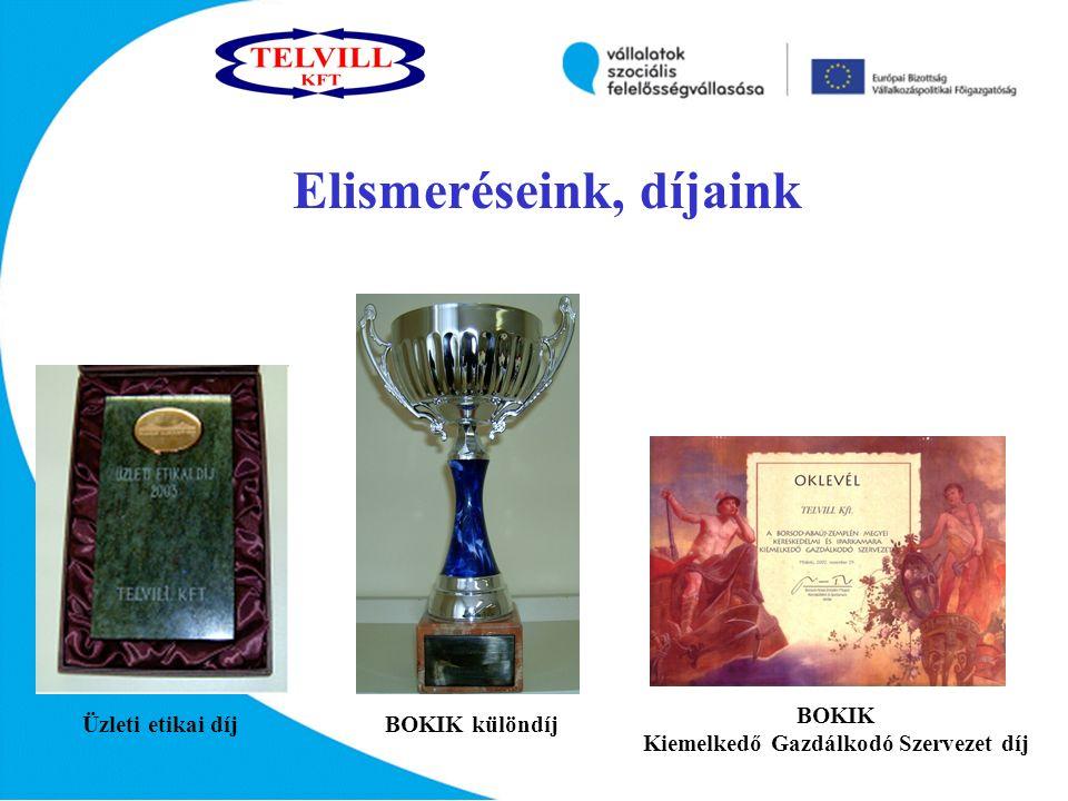 BOKIK különdíjÜzleti etikai díj BOKIK Kiemelkedő Gazdálkodó Szervezet díj Elismeréseink, díjaink