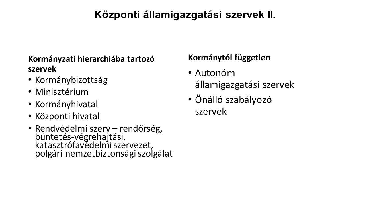 Központi államigazgatási szervek II. Kormányzati hierarchiába tartozó szervek Kormánybizottság Minisztérium Kormányhivatal Központi hivatal Rendvédelm