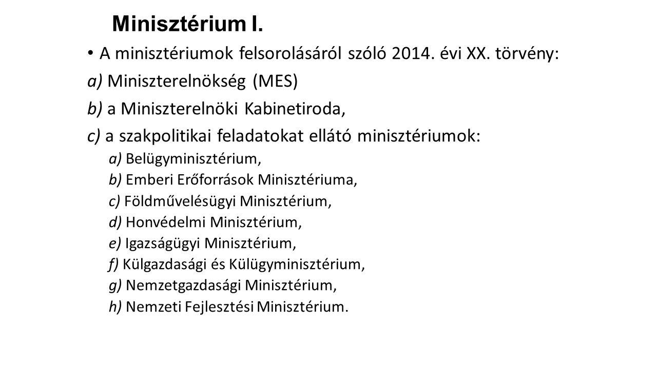Minisztérium I. A minisztériumok felsorolásáról szóló 2014. évi XX. törvény: a) Miniszterelnökség (MES) b) a Miniszterelnöki Kabinetiroda, c) a szakpo