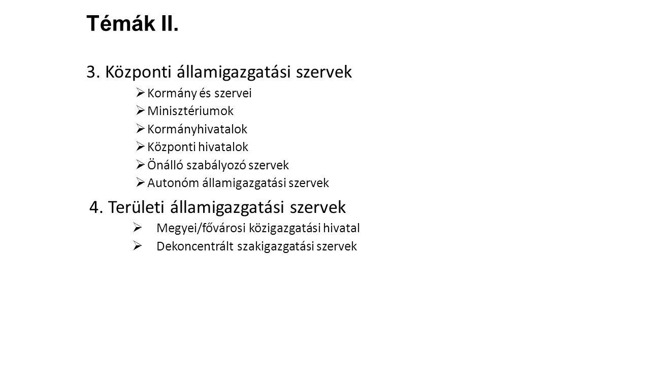 Témák II. 3. Központi államigazgatási szervek  Kormány és szervei  Minisztériumok  Kormányhivatalok  Központi hivatalok  Önálló szabályozó szerve