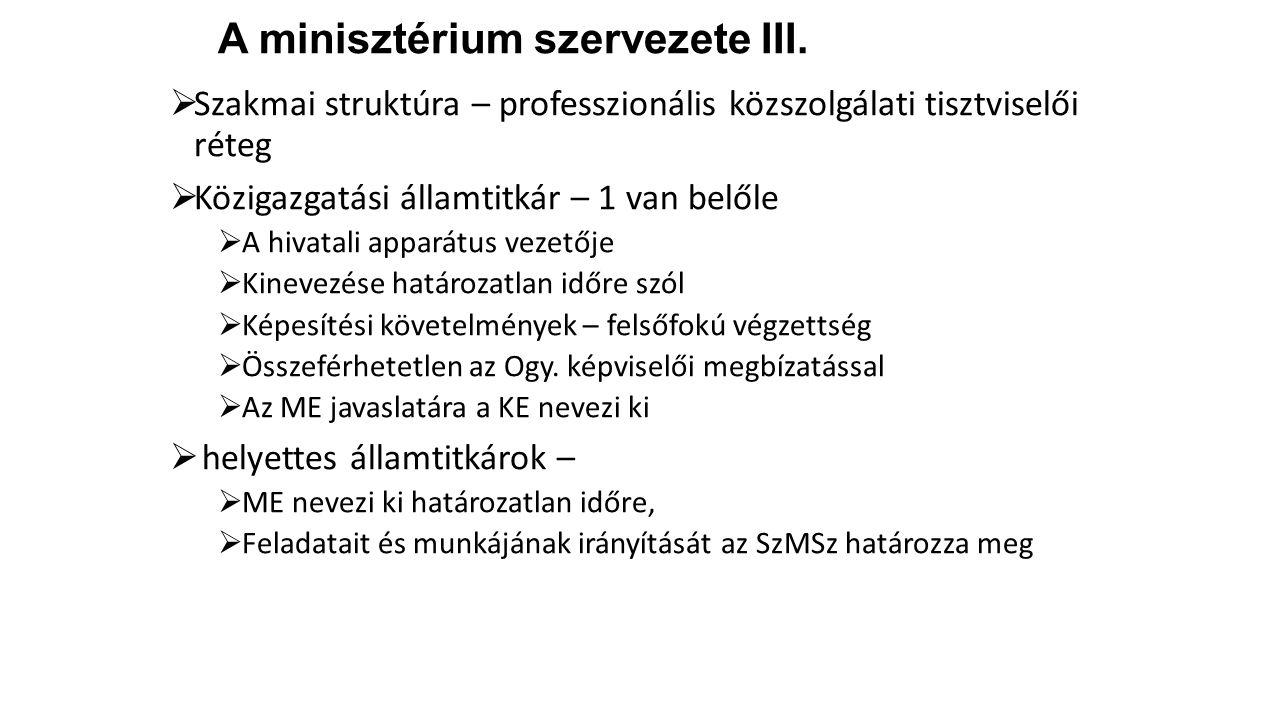 A minisztérium szervezete III.  Szakmai struktúra – professzionális közszolgálati tisztviselői réteg  Közigazgatási államtitkár – 1 van belőle  A h