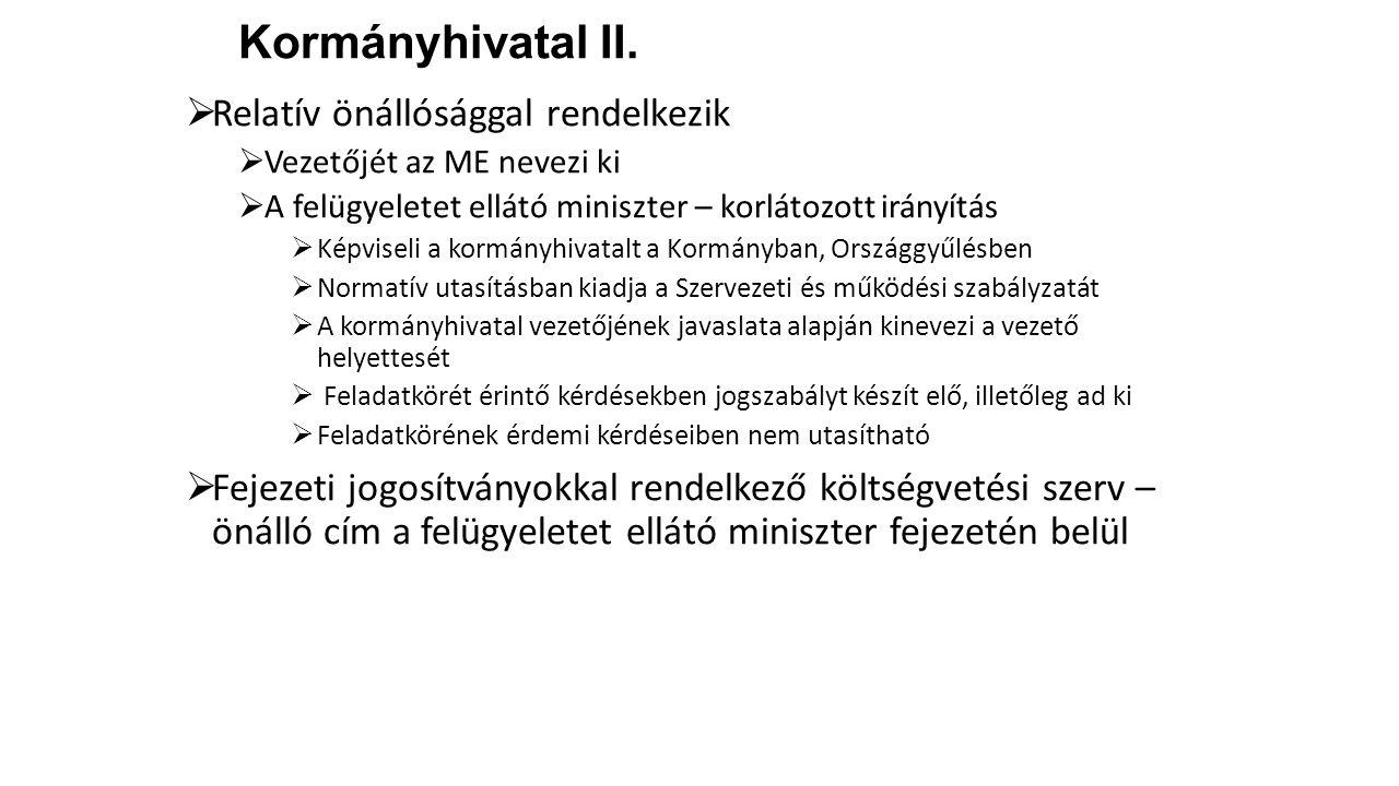 Kormányhivatal II.  Relatív önállósággal rendelkezik  Vezetőjét az ME nevezi ki  A felügyeletet ellátó miniszter – korlátozott irányítás  Képvisel