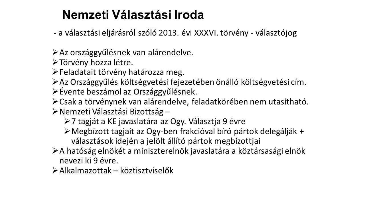 Nemzeti Választási Iroda - a választási eljárásról szóló 2013. évi XXXVI. törvény - választójog  Az országgyűlésnek van alárendelve.  Törvény hozza