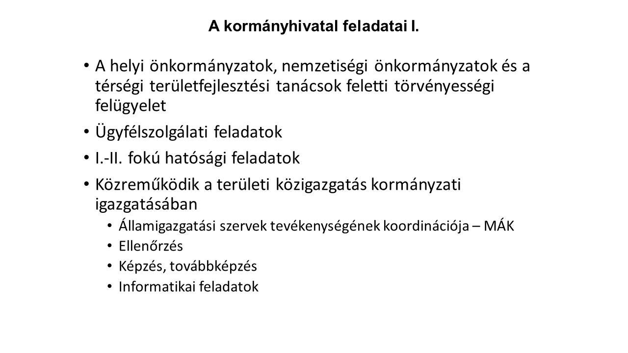 A kormányhivatal feladatai I. A helyi önkormányzatok, nemzetiségi önkormányzatok és a térségi területfejlesztési tanácsok feletti törvényességi felügy