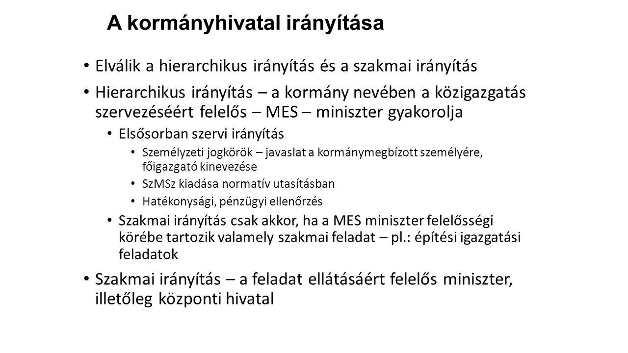 A kormányhivatal irányítása Elválik a hierarchikus irányítás és a szakmai irányítás Hierarchikus irányítás – a kormány nevében a közigazgatás szervezé