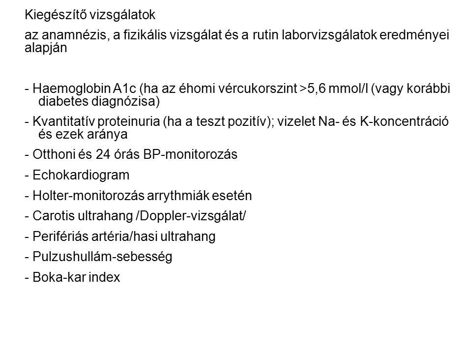 Kiegészítő vizsgálatok az anamnézis, a fizikális vizsgálat és a rutin laborvizsgálatok eredményei alapján - Haemoglobin A1c (ha az éhomi vércukorszint >5,6 mmol/l (vagy korábbi diabetes diagnózisa) - Kvantitatív proteinuria (ha a teszt pozitív); vizelet Na- és K-koncentráció és ezek aránya - Otthoni és 24 órás BP-monitorozás - Echokardiogram - Holter-monitorozás arrythmiák esetén - Carotis ultrahang /Doppler-vizsgálat/ - Perifériás artéria/hasi ultrahang - Pulzushullám-sebesség - Boka-kar index