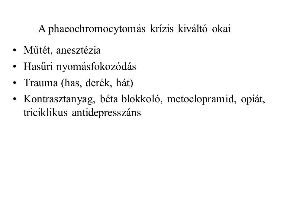 A phaeochromocytomás krízis kiváltó okai Műtét, anesztézia Hasűri nyomásfokozódás Trauma (has, derék, hát) Kontrasztanyag, béta blokkoló, metoclopramid, opiát, triciklikus antidepresszáns