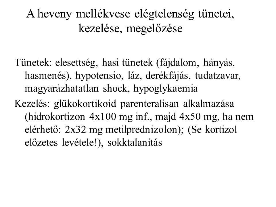 A heveny mellékvese elégtelenség tünetei, kezelése, megelőzése Tünetek: elesettség, hasi tünetek (fájdalom, hányás, hasmenés), hypotensio, láz, derékfájás, tudatzavar, magyarázhatatlan shock, hypoglykaemia Kezelés: glükokortikoid parenteralisan alkalmazása (hidrokortizon 4x100 mg inf., majd 4x50 mg, ha nem elérhető: 2x32 mg metilprednizolon); (Se kortizol előzetes levétele!), sokktalanítás