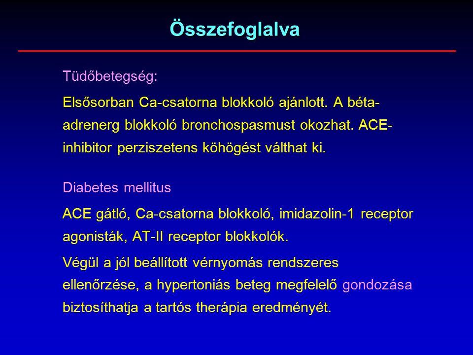 Összefoglalva Tüdőbetegség: Elsősorban Ca-csatorna blokkoló ajánlott.