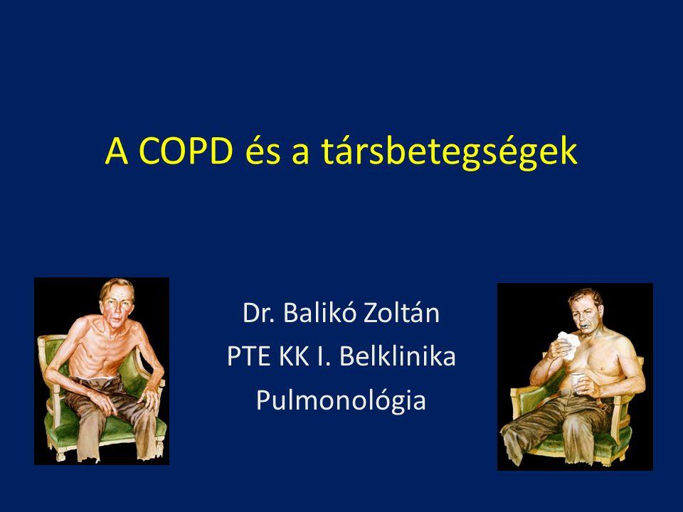 Divo M.: Am J Resp Crit Care Med 2012; 186: 155-161 CVA=cerebrovaszkuláris esemény CHF=pangásos szívelégtelenség HTN=hypertonia RHF=jobb szívfél elégtelenség PAD=perifériás érbetegség CAD=koszorúsér betegség BPH=benignus prostata hypertrophia DJD=degeneratív izületi betegség