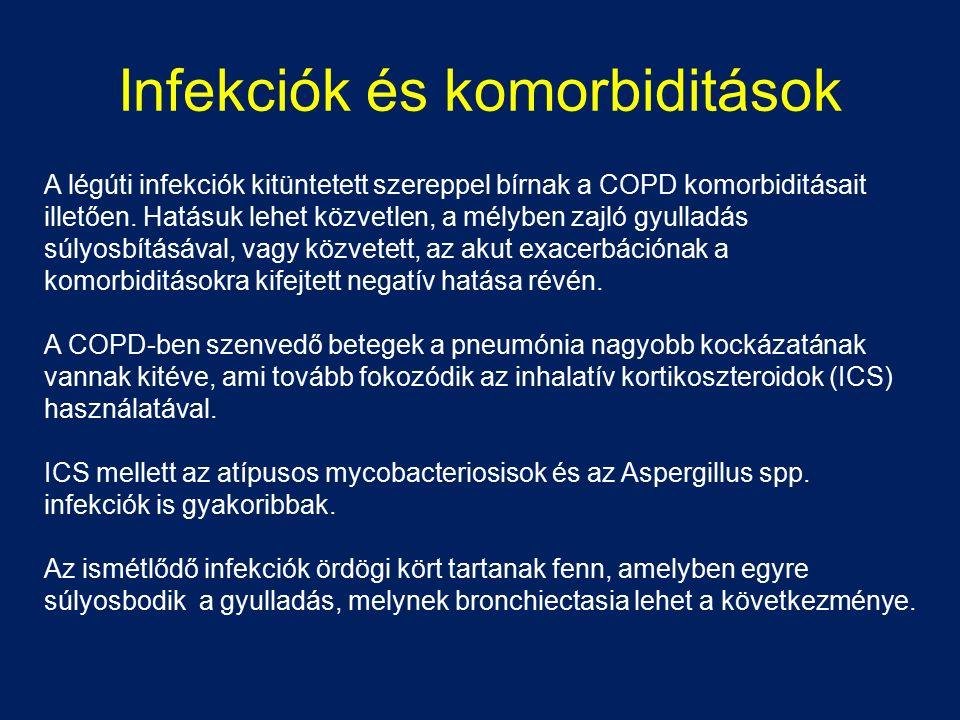 Infekciók és komorbiditások A légúti infekciók kitüntetett szereppel bírnak a COPD komorbiditásait illetően. Hatásuk lehet közvetlen, a mélyben zajló
