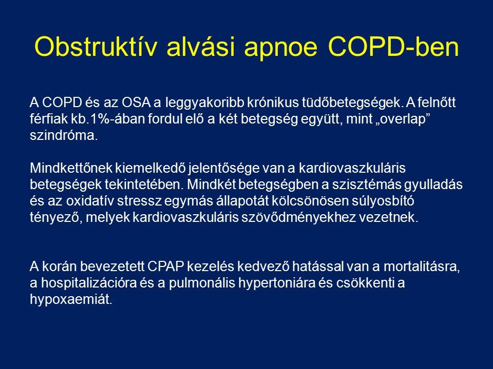 Obstruktív alvási apnoe COPD-ben A COPD és az OSA a leggyakoribb krónikus tüdőbetegségek. A felnőtt férfiak kb.1%-ában fordul elő a két betegség együt