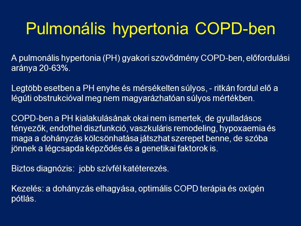 Pulmonális hypertonia COPD-ben A pulmonális hypertonia (PH) gyakori szövődmény COPD-ben, előfordulási aránya 20-63%. Legtöbb esetben a PH enyhe és mér