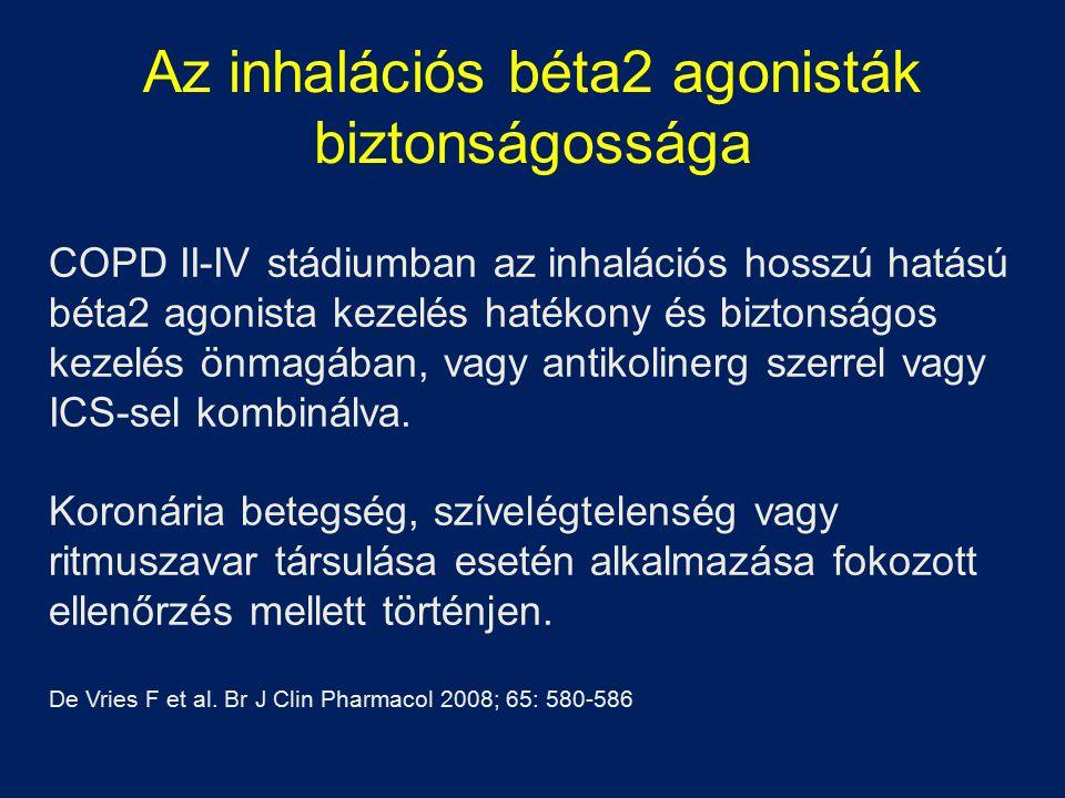 Az inhalációs béta2 agonisták biztonságossága COPD II-IV stádiumban az inhalációs hosszú hatású béta2 agonista kezelés hatékony és biztonságos kezelés