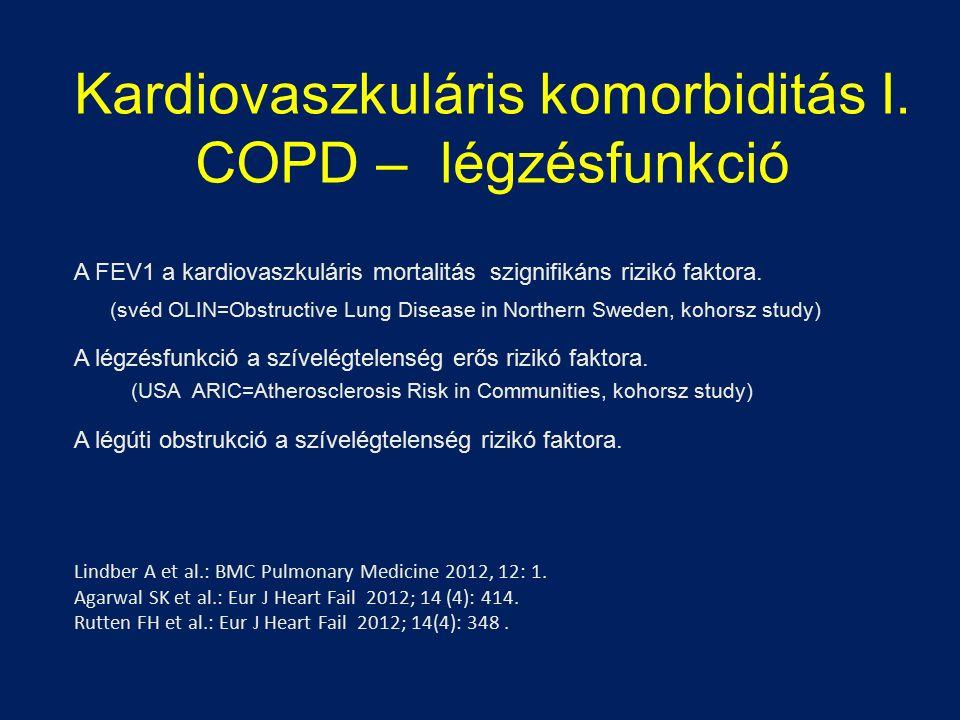 Kardiovaszkuláris komorbiditás I. COPD – légzésfunkció A FEV1 a kardiovaszkuláris mortalitás szignifikáns rizikó faktora. (svéd OLIN=Obstructive Lung