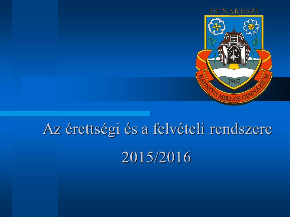 Az érettségi és a felvételi rendszere 2015/2016