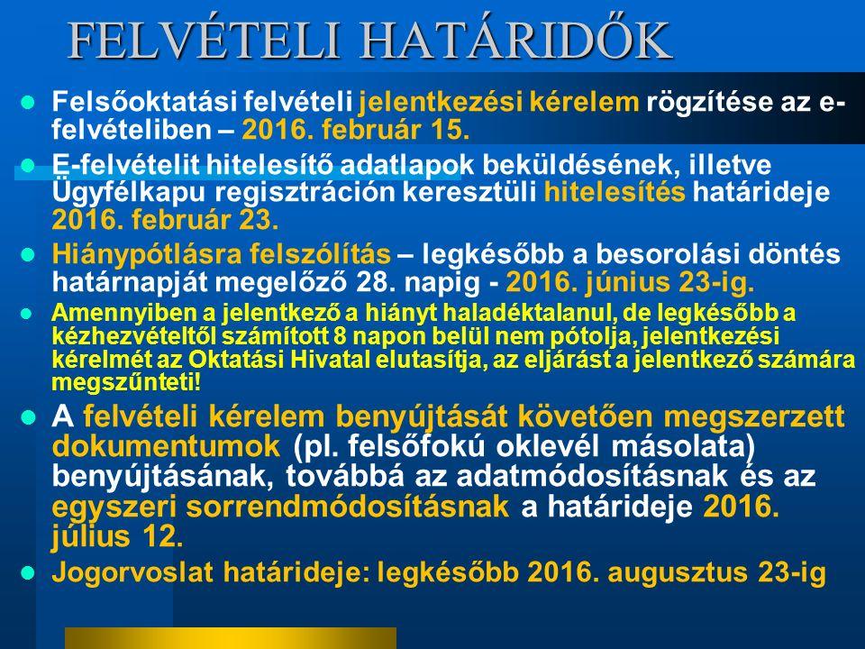FELVÉTELI HATÁRIDŐK Felsőoktatási felvételi jelentkezési kérelem rögzítése az e- felvételiben – 2016. február 15. E-felvételit hitelesítő adatlapok be