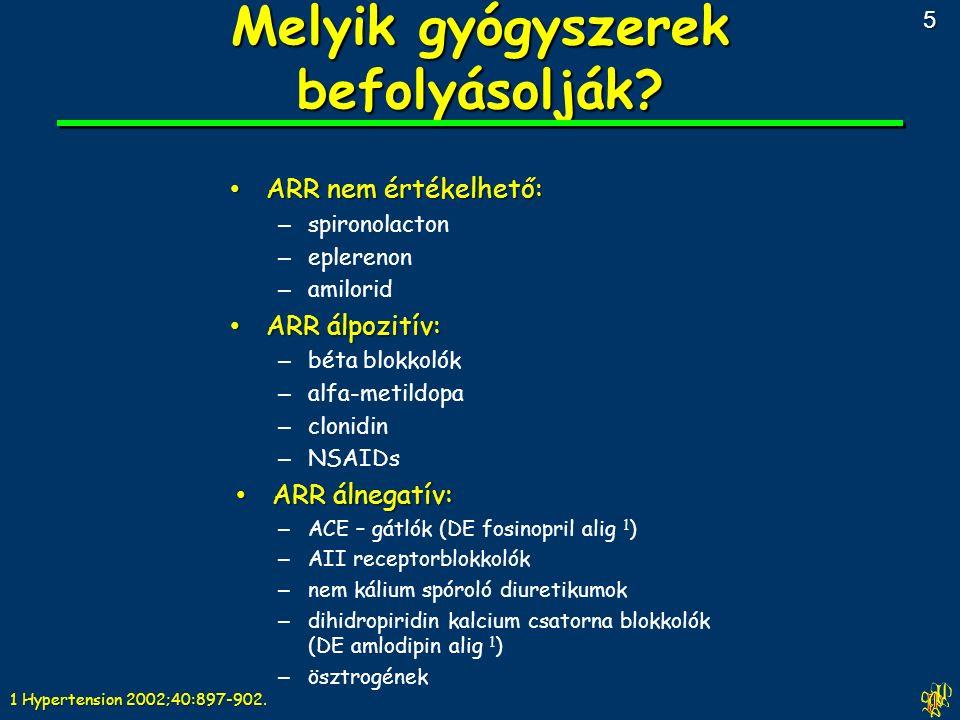 ARR nem értékelhető: ARR nem értékelhető: – spironolacton – eplerenon – amilorid ARR álpozitív: ARR álpozitív: – béta blokkolók – alfa-metildopa – clonidin – NSAIDs ARR álnegatív: ARR álnegatív: – ACE – gátlók (DE fosinopril alig 1 ) – AII receptorblokkolók – nem kálium spóroló diuretikumok – dihidropiridin kalcium csatorna blokkolók (DE amlodipin alig 1 ) – ösztrogének Melyik gyógyszerek befolyásolják.