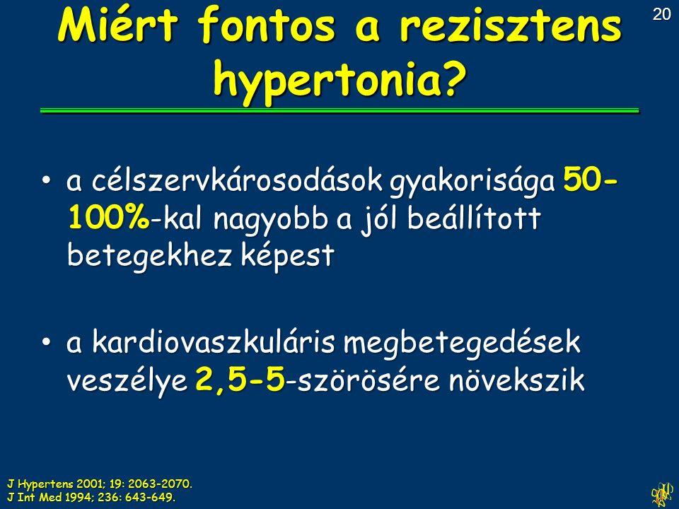 a célszervkárosodások gyakorisága 50- 100% -kal nagyobb a jól beállított betegekhez képest a célszervkárosodások gyakorisága 50- 100% -kal nagyobb a jól beállított betegekhez képest a kardiovaszkuláris megbetegedések veszélye 2,5-5 -szörösére növekszik a kardiovaszkuláris megbetegedések veszélye 2,5-5 -szörösére növekszik Miért fontos a rezisztens hypertonia.