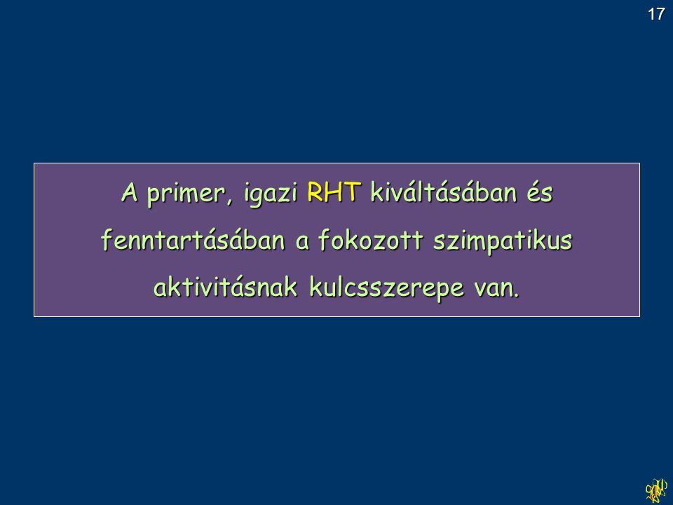 A primer, igazi RHT kiváltásában és fenntartásában a fokozott szimpatikus aktivitásnak kulcsszerepe van.