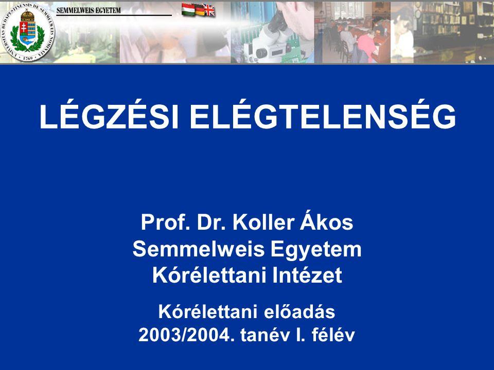 LÉGZÉSI ELÉGTELENSÉG Prof. Dr.