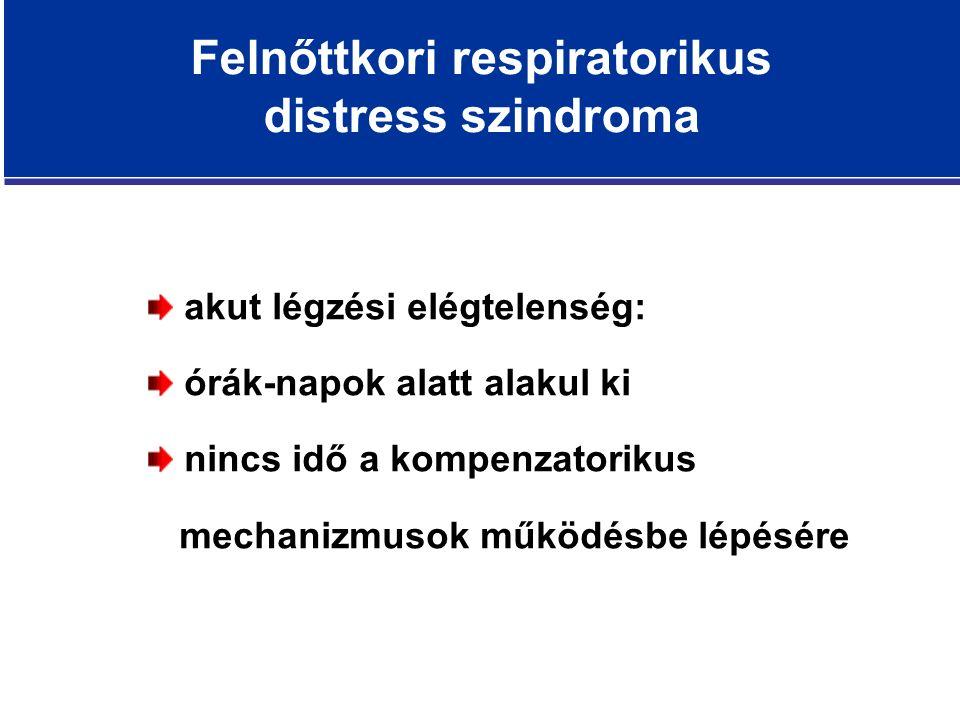 Felnőttkori respiratorikus distress szindroma akut légzési elégtelenség: órák-napok alatt alakul ki nincs idő a kompenzatorikus mechanizmusok működésbe lépésére