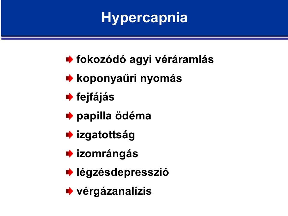 Hypercapnia fokozódó agyi véráramlás koponyaűri nyomás fejfájás papilla ödéma izgatottság izomrángás légzésdepresszió vérgázanalízis