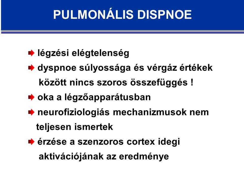 PULMONÁLIS DISPNOE légzési elégtelenség dyspnoe súlyossága és vérgáz értékek között nincs szoros összefüggés .