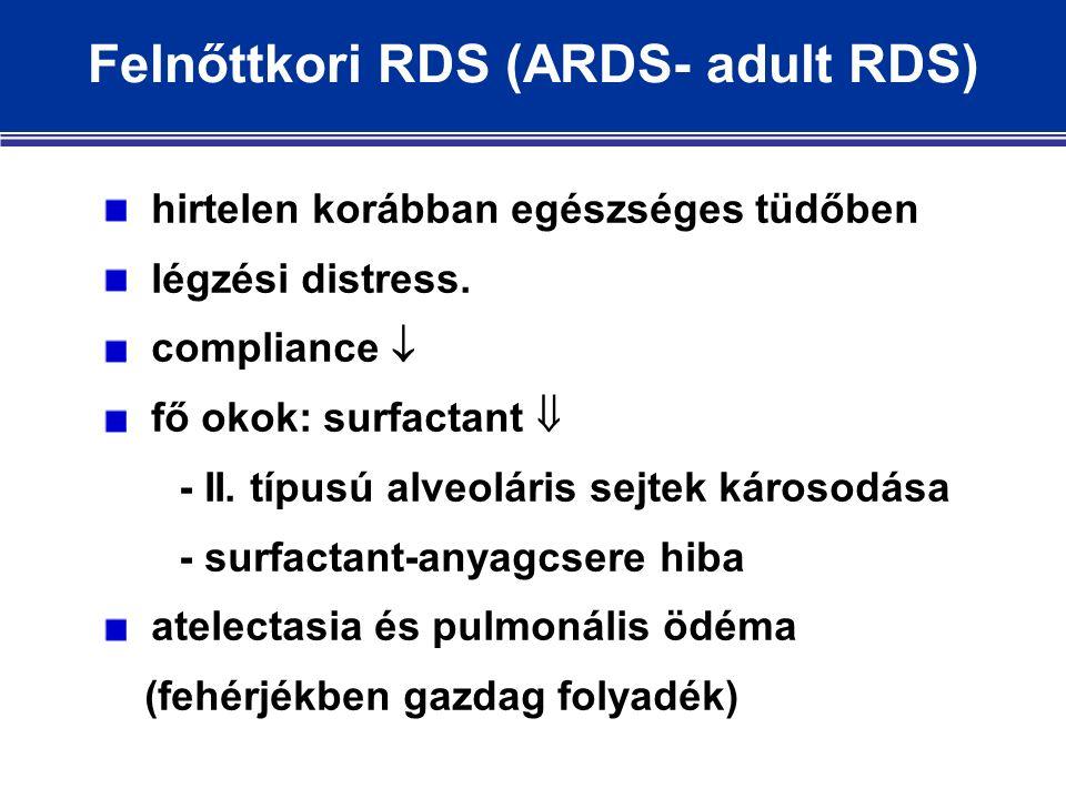 Felnőttkori RDS (ARDS- adult RDS) hirtelen korábban egészséges tüdőben légzési distress.