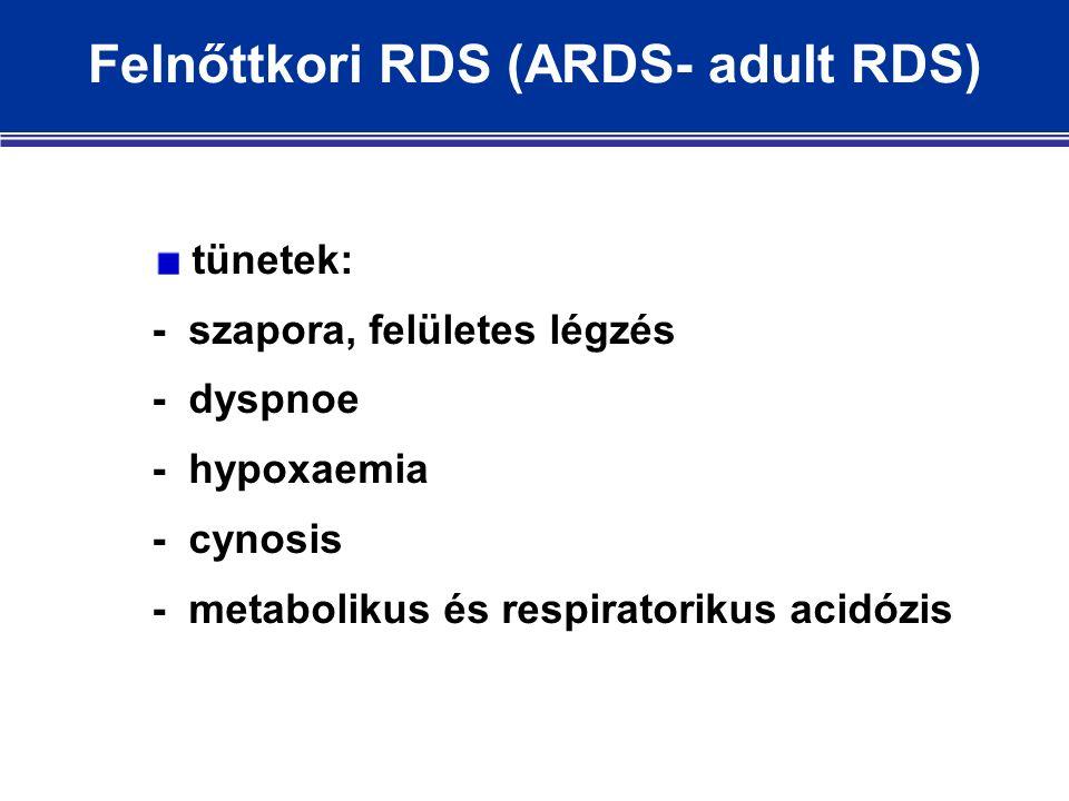 Felnőttkori RDS (ARDS- adult RDS) tünetek: - szapora, felületes légzés - dyspnoe - hypoxaemia - cynosis - metabolikus és respiratorikus acidózis