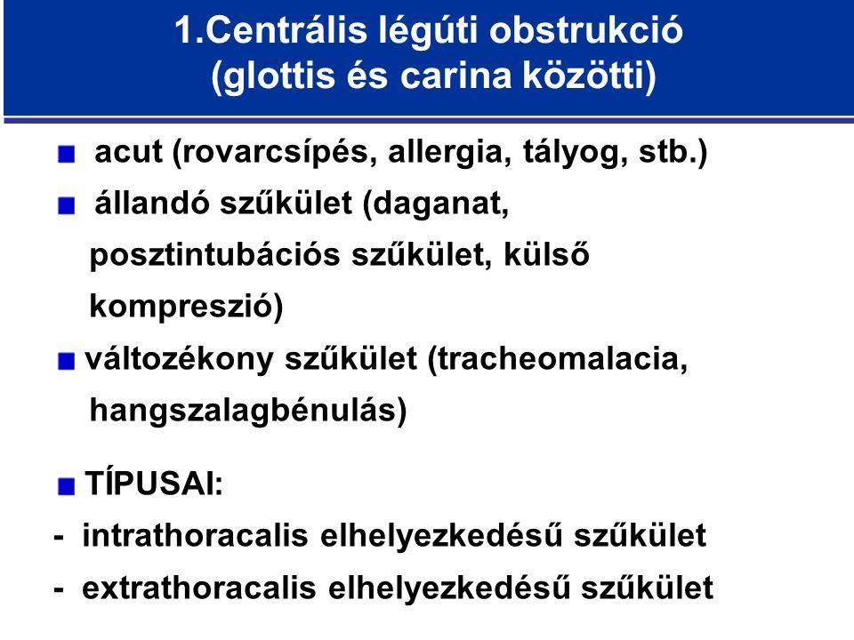 1.Centrális légúti obstrukció (glottis és carina közötti) acut (rovarcsípés, allergia, tályog, stb.) állandó szűkület (daganat, posztintubációs szűkület, külső kompreszió) változékony szűkület (tracheomalacia, hangszalagbénulás) TÍPUSAI: - intrathoracalis elhelyezkedésű szűkület - extrathoracalis elhelyezkedésű szűkület