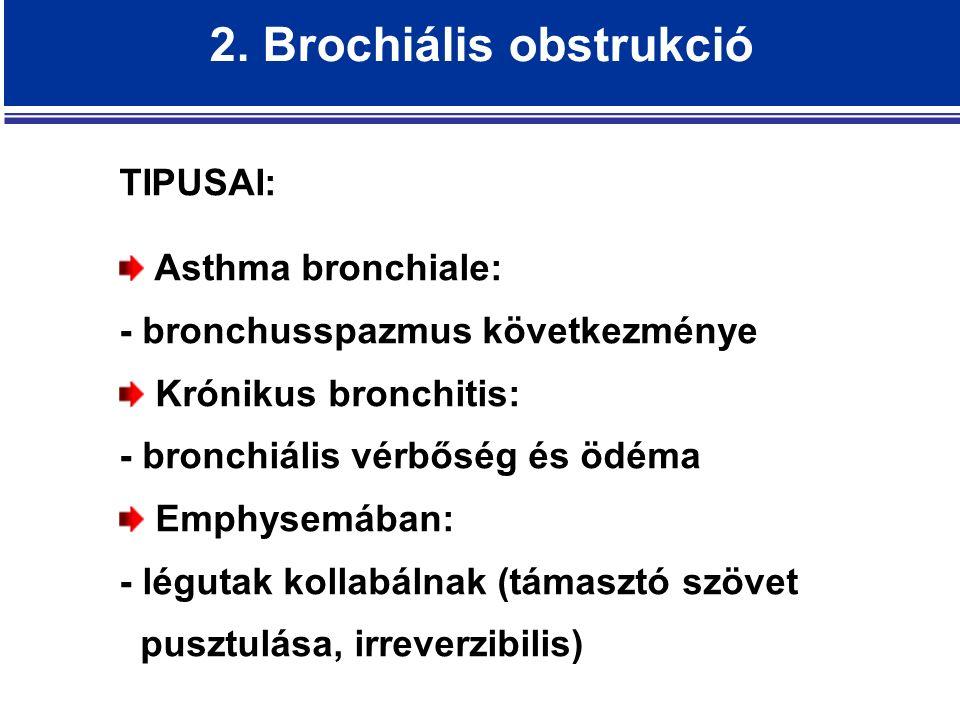 2. Brochiális obstrukció TIPUSAI: Asthma bronchiale: - bronchusspazmus következménye Krónikus bronchitis: - bronchiális vérbőség és ödéma Emphysemában