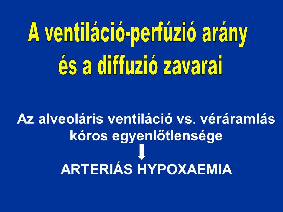 Az alveoláris ventiláció vs. véráramlás kóros egyenlőtlensége ARTERIÁS HYPOXAEMIA