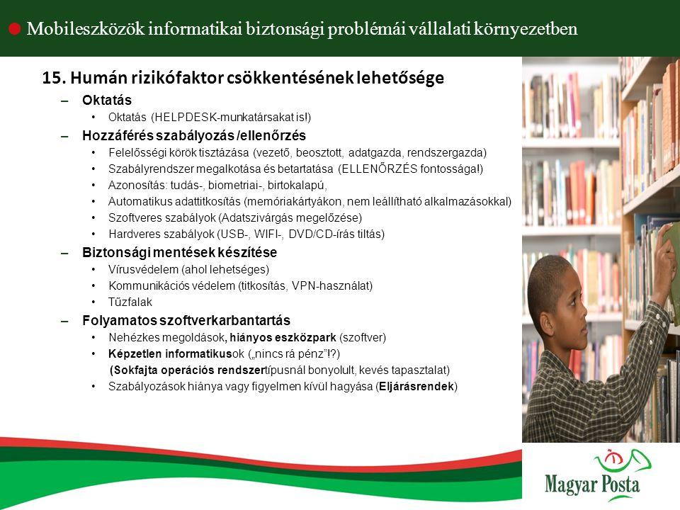 15. Humán rizikófaktor csökkentésének lehetősége –Oktatás Oktatás (HELPDESK-munkatársakat is!) –Hozzáférés szabályozás /ellenőrzés Felelősségi körök t