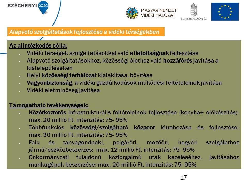 17 Az alintézkedés célja:  Vidéki térségek szolgáltatásokkal való ellátottságnak fejlesztése  Alapvető szolgáltatásokhoz, közösségi élethez való hozzáférés javítása a kistelepüléseken  Helyi közösségi térhálózat kialakítása, bővítése  Vagyonbiztonság, a vidéki gazdálkodások működési feltételeinek javítása  Vidéki életminőség javítása Támogatható tevékenységek:  Közétkeztetés infrastrukturális feltételeinek fejlesztése (konyha+ előkészítés): max.