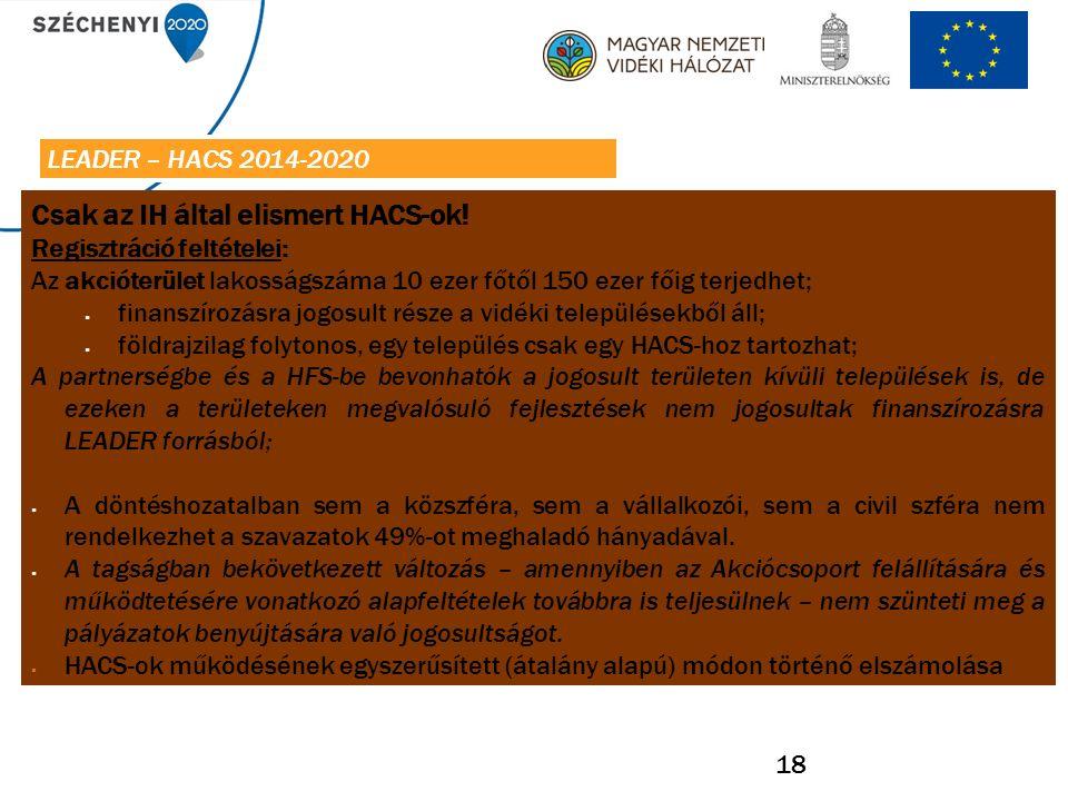 18 Csak az IH által elismert HACS-ok.