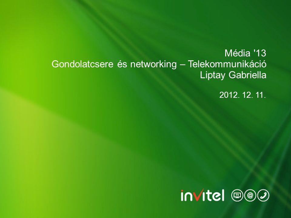 2012. 12. 11. Média '13 Gondolatcsere és networking – Telekommunikáció Liptay Gabriella