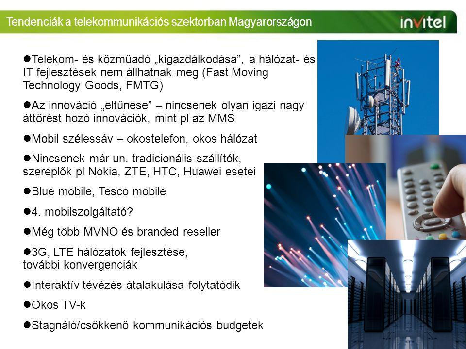 """Tendenciák a telekommunikációs szektorban Magyarországon Telekom- és közműadó """"kigazdálkodása , a hálózat- és IT fejlesztések nem állhatnak meg (Fast Moving Technology Goods, FMTG) Az innováció """"eltűnése – nincsenek olyan igazi nagy áttörést hozó innovációk, mint pl az MMS Mobil szélessáv – okostelefon, okos hálózat Nincsenek már un."""