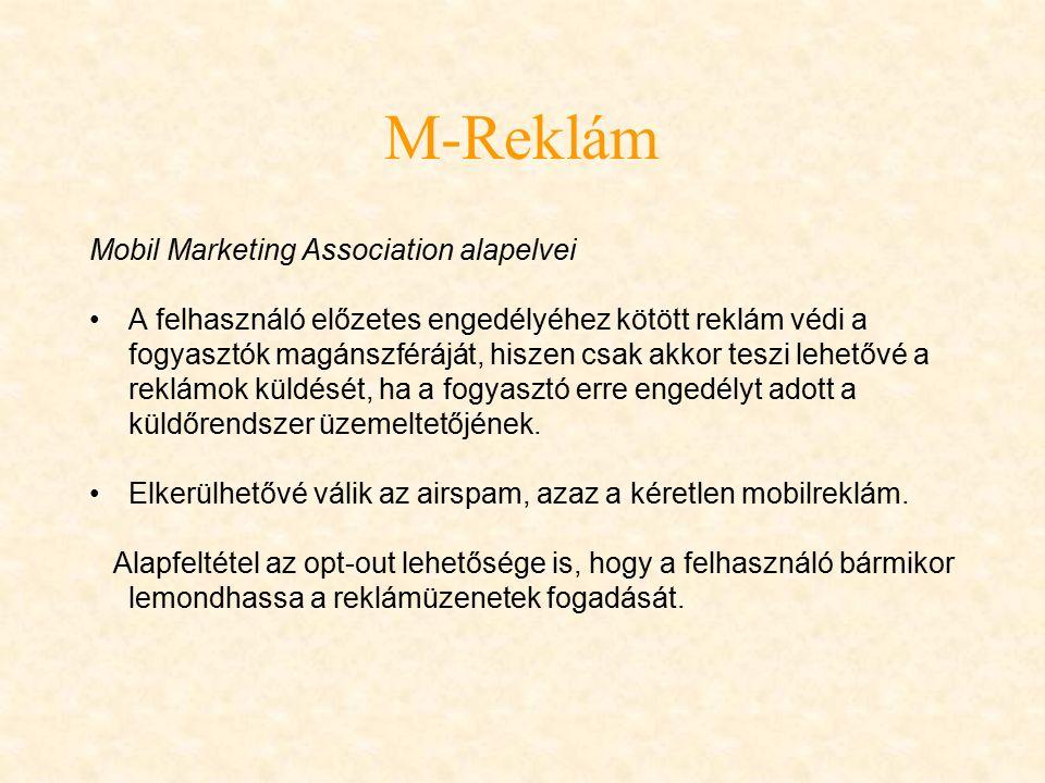 M-Reklám SMS-reklám Push típusú kommunikációs forma, amely rendkívül széles közönséget ér el, mivel az SMS küldésére és fogadására a legtöbb forgalomban levő mobilkészülék alkalmas.