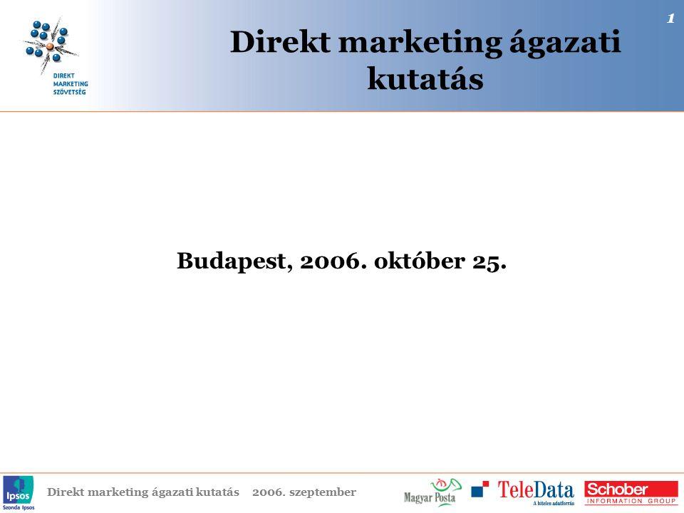 Direkt marketing ágazati kutatás2006. szeptember Direkt marketing ágazati kutatás Budapest, 2006. október 25. 1