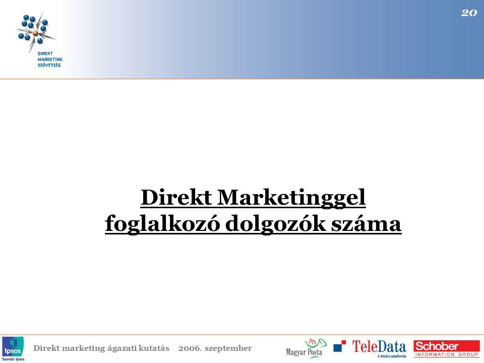 Direkt marketing ágazati kutatás2006. szeptember Direkt Marketinggel foglalkozó dolgozók száma 20